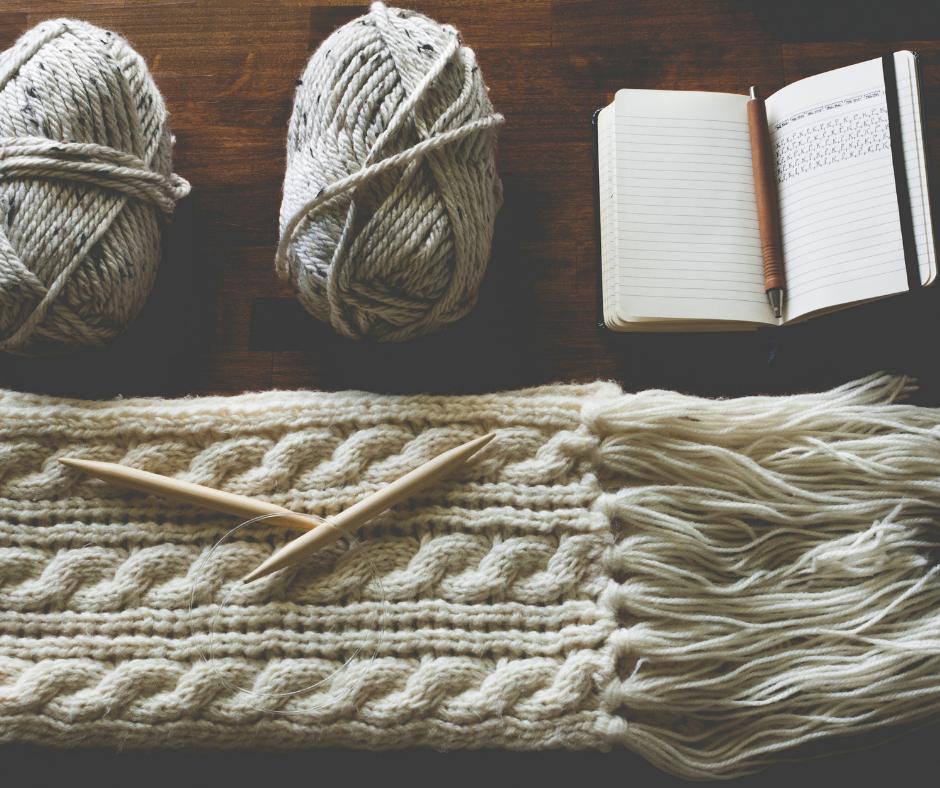 scarf-yarn skein- ball-notebook-rustic-project-scene