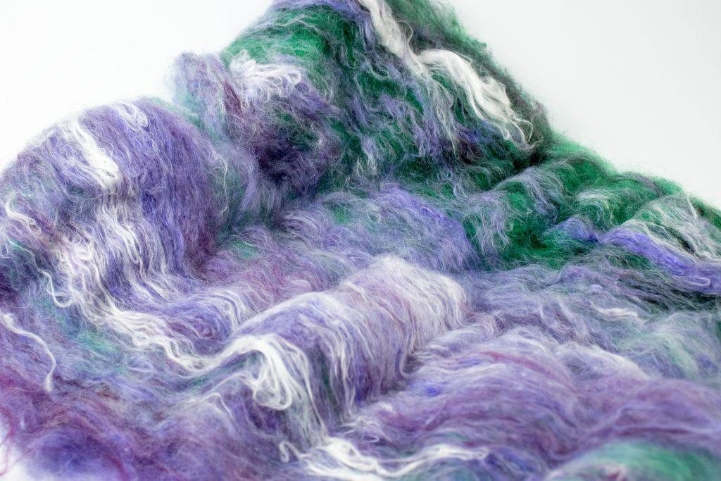 green purple fiber art batt